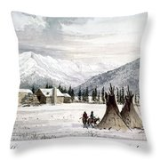 Trading Outpost, C1860 Throw Pillow