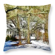 Traditional American Home In Winter Throw Pillow by Lanjee Chee