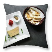 Traditional French Foie Gras Pate And Toast Starter Snack Platte Throw Pillow