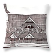 traditional Kerala house Throw Pillow by Farah Faizal