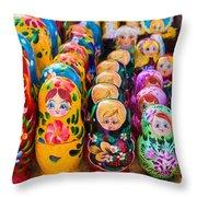 Traditional Russian Matrushka Nesting Puzzle Dolls Throw Pillow