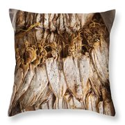 Traditional Sun Dried Squid In Kep Market Cambodia Throw Pillow