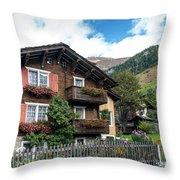 Traditional Swiss Alps Houses In Vals Village Alpine Switzerland Throw Pillow