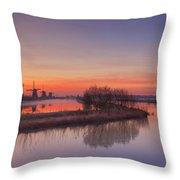 Traditional Windmills At Sunrise, Kinderdijk, The Netherlands Throw Pillow