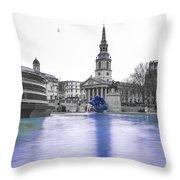 Trafalgar Square Fountain London 3d Throw Pillow