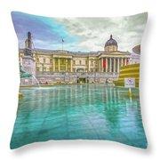 Trafalgar Square Fountain London 4 Throw Pillow