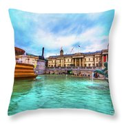 Trafalgar Square Fountain London 5 Art Throw Pillow