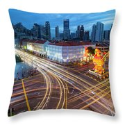 Traffic Light Trails In Singapore Chinatown Throw Pillow