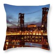 Traffic Light Trails On Steel Bridge Throw Pillow