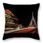 Traffic Racing Over Zakim Bridge Throw Pillow