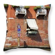 Traffic Signs On The Canal In Venice Italy Throw Pillow