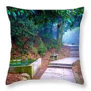 Trail In Woods Throw Pillow
