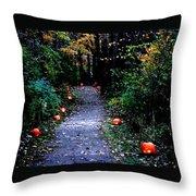 Trail Of 100 Jack-o-lanterns Throw Pillow