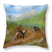 Trail Ride In Sabino Canyon Throw Pillow