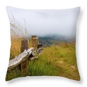 Trail With Coastal Morning Fog Throw Pillow