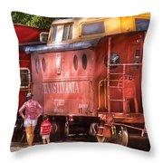 Train - Car - Pennsylvania Northern Region Caboose 477823 Throw Pillow
