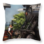 Train - Engine - Alllll Aboard Throw Pillow by Mike Savad