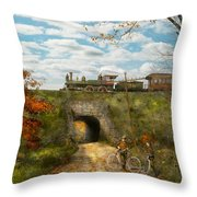 Train - Arlington Nj - Enjoying The Autumn Day - 1890 Throw Pillow