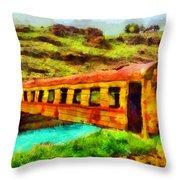 Train Bridge Throw Pillow