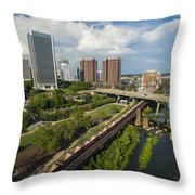 Train Cars Full In Richmond Va Throw Pillow