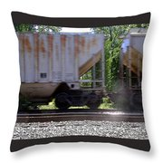 Train Cars With Light Spots Throw Pillow