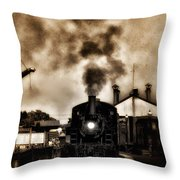 Train Coming In The Station Throw Pillow