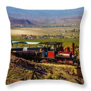 Train Coming Into The Station Throw Pillow