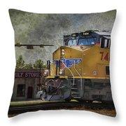 Train Coming Through Throw Pillow