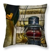 Train Conductor Takes A Break Throw Pillow