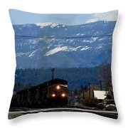 Train Entering Truckee California Throw Pillow