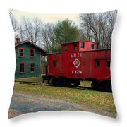Train - Erie Rr Line Caboose Throw Pillow