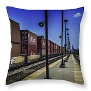 Train From Chicago Throw Pillow