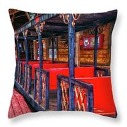 Train In Amusement Park Throw Pillow by Gunter Nezhoda