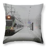Train In Helsinki Throw Pillow