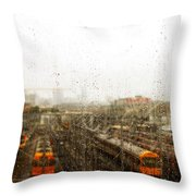 Train In The Rain Throw Pillow