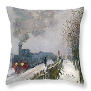 Train In The Snow Or The Locomotive Throw Pillow