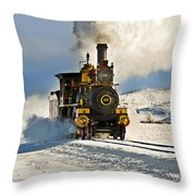 Train In Winter Throw Pillow