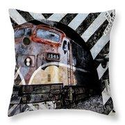 Train Mural Throw Pillow