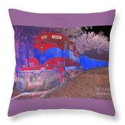 Train On Railroad Tracks - Abstract In Blue And Red Throw Pillow