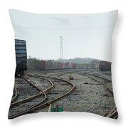 Train On Tracks Throw Pillow