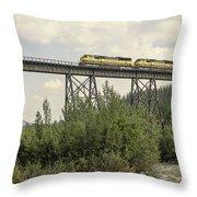 Train On Trestle Throw Pillow