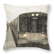 Train Sketch Throw Pillow