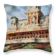 Train Station At Magic Kingdom Throw Pillow