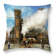 Train Station - Boston And Maine Railroad Depot 1910 Throw Pillow