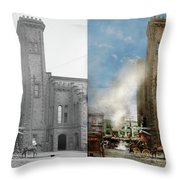 Train Station - Look Out For The Train 1910 - Side By Side Throw Pillow
