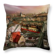Train Station - Wuppertal Suspension Railway 1913 Throw Pillow
