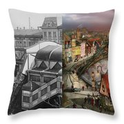 Train Station - Wuppertal Suspension Railway 1913 - Side By Side Throw Pillow