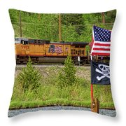 Train The Flags Throw Pillow