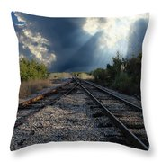 Train Track Junction In Charleston Sc Throw Pillow