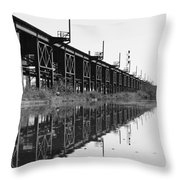 Train Track Reflections Throw Pillow